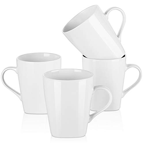 (Y YHY 16 Ounces Porcelain Coffee Mugs, Large Restaurant Mug Set for Coffee, Tea, Cocoa, White Set of)