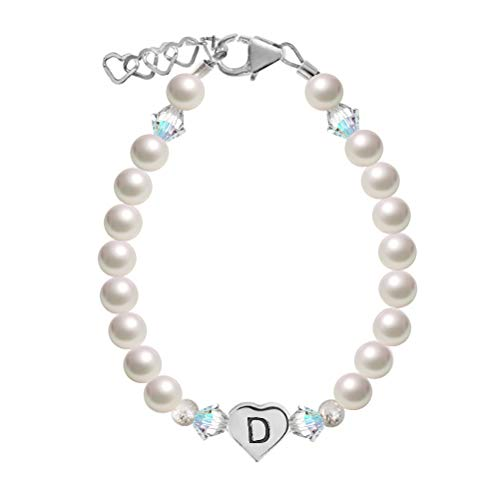 Personalized Swarovski Crystal, White Simulated Pearls, with Sterling Silver Heart Initial Baby Bracelet (BHC_D_L) ()