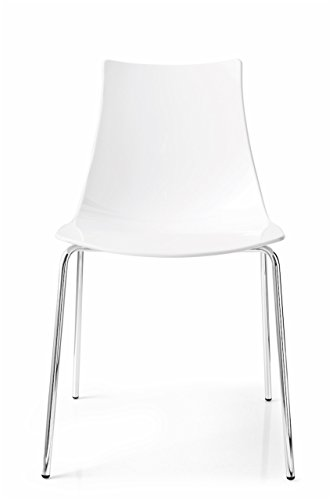 Connubia Ice Chair - Metal Stained Chromed Frame - Glossy Optic White (Calligaris Modern Chair)