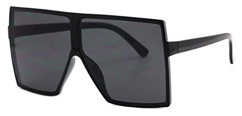 Elite Big XL Large Oversized Super Flat Top Square Multi Tone Color Fashion Sunglasses (Black)