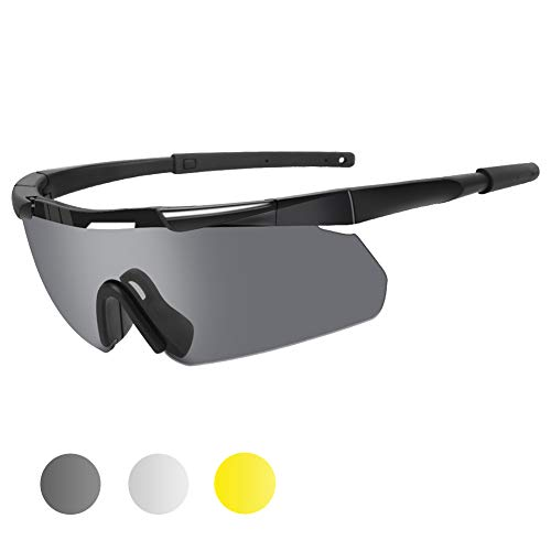 XAegis Tactical Military Goggles 3 Interchangeable Lenses, Outdoor Antifog Safety Glasses & Hard Shell Case - Unisex Shooting Glasses Cycling, Driving, Hiking,Fishing, Hunting - Black Frame (Best Pro Airsoft Guns)