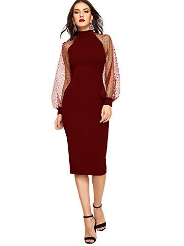 ROMWE Women's Long Mesh Bishop Sleeve Mock Neck Zipper Back Elegant Slim Fit Pencil Sheath Dress Burgundy Medium