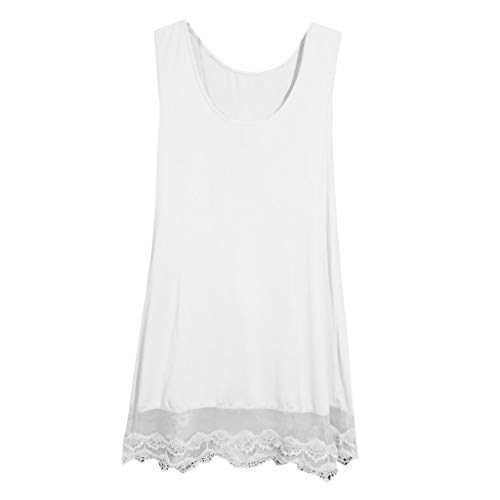 Sunmoot Plus Size Women's Summer Casual Sleeveless Lace Patchwork Hem Tank Top Dresses for Beach White