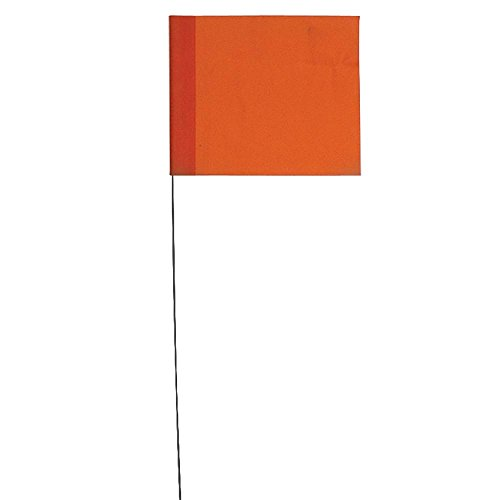 Vinyl Stake Flags with Wire Stakes, Bundle of 100 Marking Flags (Orange) ()