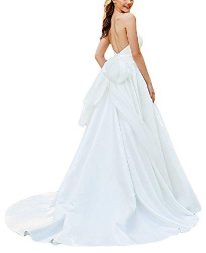 DarlingU Women's 2018 A-line Chapel Train Wedding Dresses Strapless Bridal Gown Sash Ivory 2 A-line Strapless Chapel Train