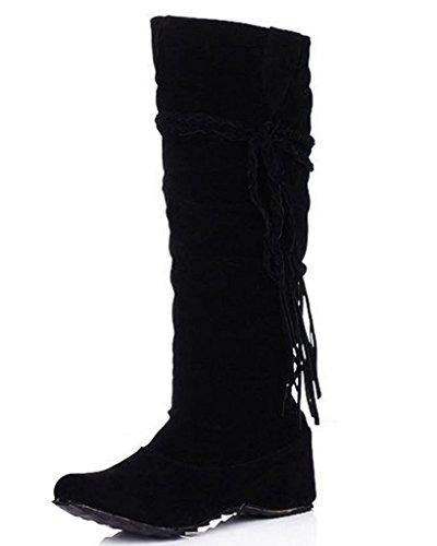 Minetom De Borla La La Negro Zapatos Aumento Invierno Altura Con Botas Fruncido Mate El Mujer Volante Superficie rFrS6