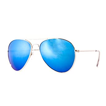 blue tinted aviator sunglasses  Silver Classic Aviator Sunglasses with Tinted Blue lenses: Amazon ...