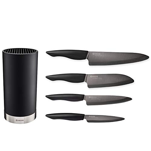 Kyocera Universal Knife Block Set Includes: Black Soft Touch Round Block and 4 Innovation Series Ceramic Knives; 7