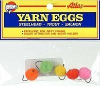 Atlas Mike's Yarn Salmon Fishing Bait Holder Eggs (Pack of 4), Assorted, Size 6