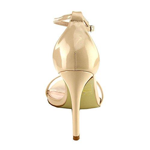 Bella Marie Flora-18 Donne Sandali Con Tacco A Spillo Sandali Con Cinturino Esecuzione Mezza Taglia Grande, Colore: Nudo, Misura: 9