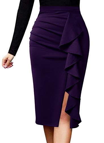 VFSHOW Womens Ruched Ruffle Split Slim Work Business Office Party Pencil Skirt 2511 PUP XXL