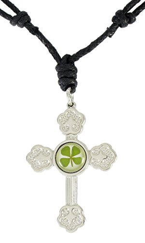 Cross Celtic Shamrock Irish - Genuine Four-leaf Lucky Clover Shamrock Crystal Amber Necklace, Men's Cross for Protection with Adjustable Black Rope!