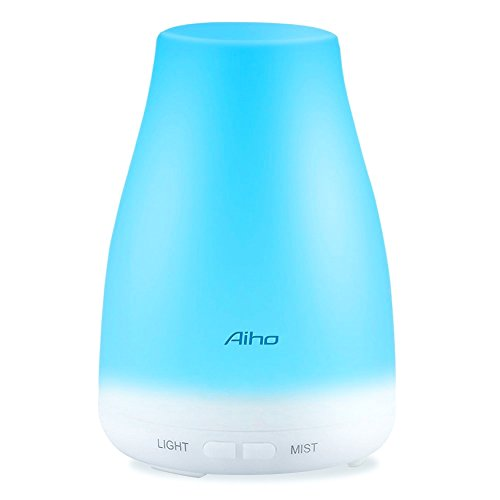 Aiho Essential Oil Diffusers 100ml Aromatherapy Humidifier with Adjustable Mist Mode Whisper Quiet 7 Color LED Light Waterless Auto OFF for Home Office Bedroom
