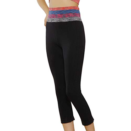 b2466b9a51 Women's High Waist Yoga Pants,Stretch Quick-Drying Tight Bottom Spliced  Seven-Minute