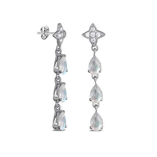 Aden's Jewels Women's 3 Natural Gemstones Moonstone Jewels Earrings Silver Rhodium Nickel Free