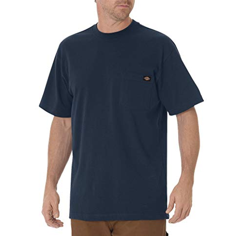 Dickie's Men's Short Sleeve Heavyweight Crew Neck Pocket T-Shirt, Dark Navy, Medium