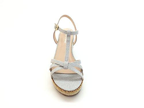 Chic Nana Sandale Plattform kompensiert Tat Kork, Sohle gefüttert mit Seil, Befestigung glänzend. Silberfarben
