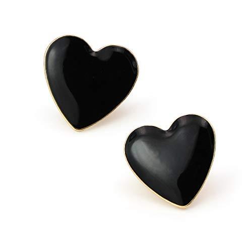 Heart Stud Earrings Black Enameled Statement Pierced Earrings for Women Girls Stainless Steel - Enameled Stud