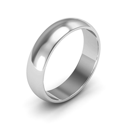 14K White Gold men's and women's plain wedding bands 5mm half round, 7.75 by i Wedding Band