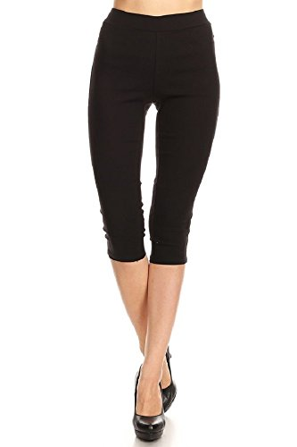 Jvini Women's High Waist Pull-On Skinny Super Stretchy Jeggings & Capris Regular & Plus Size (Medium, Black Capri)