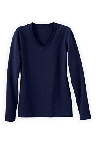 - Fair Indigo Fair Trade Organic Essential Long Sleeve V-Neck Tee (XL, Midnight Navy)