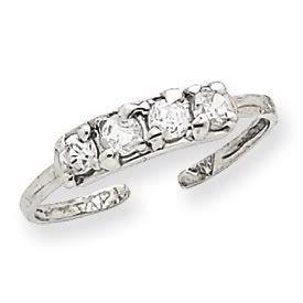 14k Gold Diamond Toe Ring (14K White Gold)