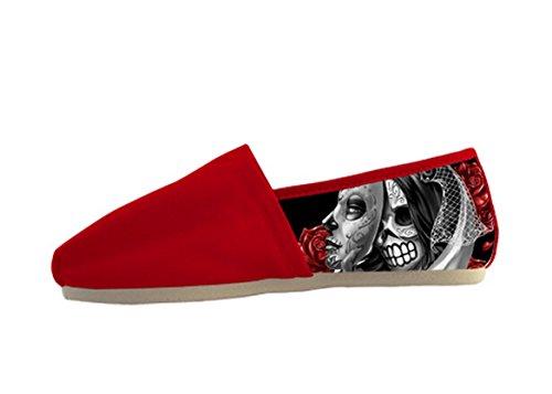Zapatos Ocasionales De La Lona Para Mujer Con El Tema Del Día De Los Muertos Zapatos Casuales De Las Mujeres19
