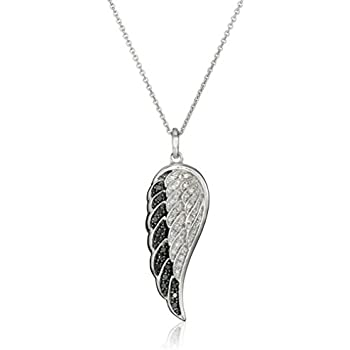 a33e15ba9 Sterling Silver Black and White Diamond Angel Wing Pendant Necklace (1/5  cttw), 18