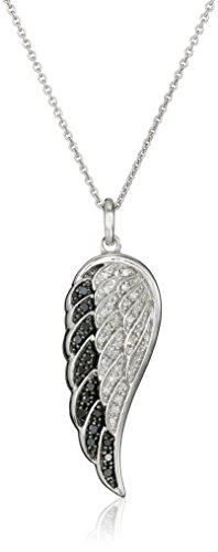 Sterling Silver Black and White Diamond Angel Wing Pendant Necklace (1/5 cttw), 18
