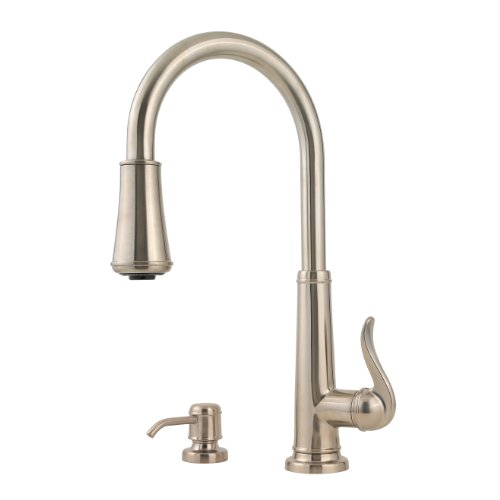 Pfister Ashfield 1-Handle Pull-Down Kitchen Faucet with Soap Dispenser, Brushed - Pull Hole 3 Ashfield