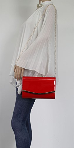 Bag SWANKYSWANS Flapover Party Patent Red Lilo Ladies Leather Prom Womens Clutch 7wwzrp4
