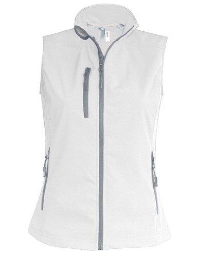 K404 Damen Softshell Bodywarmer Weste wasserdicht atmungsaktiv, Größe:L;Farbe:white