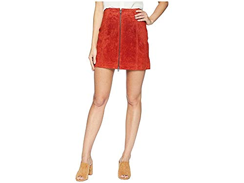 (Blank NYC Women's Red Suede Zippered Mini Skirt in Redwood Redwood 25)
