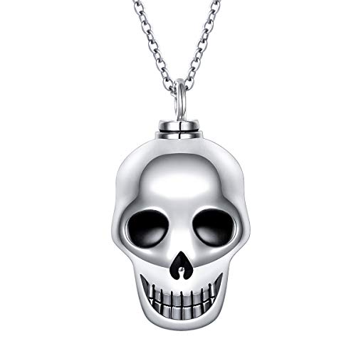 Cremation Ashes Jewelry Sterling Silver Skeleton Skull Urn Necklace for Ashes for Women Men Teen, 20