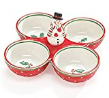 Snowman 4 Section Relish Dish Adorable Holiday/Christmas Party Serveware