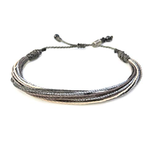 RUMI SUMAQ Grey String Bracelet for Men and Women with Hematite Stones in Gray, Off-White, and Metallic Silver: Handmade Surfer Rope Friendship Bracelet ()