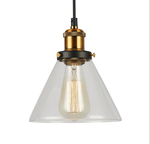Templer Lighting TP-11-002-10 Glass and Metal Industrial Light Pendant, 1-Pack, Classic Pendant Light