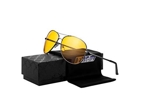 Night Vision Glasses for Driving - FEIDU HD night driving glasses anti glare polarized mens women glasses (black2, 2.04)