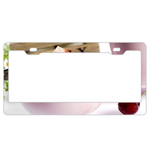 Custom Frames Strawberry Flakes Breakfast Cherry with Bling Aluminum License Plate Frame