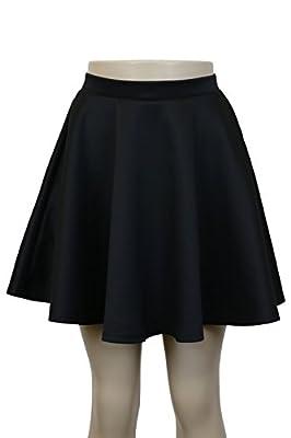 Instar Mode Womens Basic Flowy Versatile A-Lined Flared Skirt