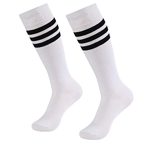 Cotton Striped Sport Socks - Soccer Game Socks, SUTTOS Unisex Long Knee High Striped Pattern Wicking Moisture Comfortable Sport Football Soccer Team Compression Socks 2 Pairs,White+Black Stripe