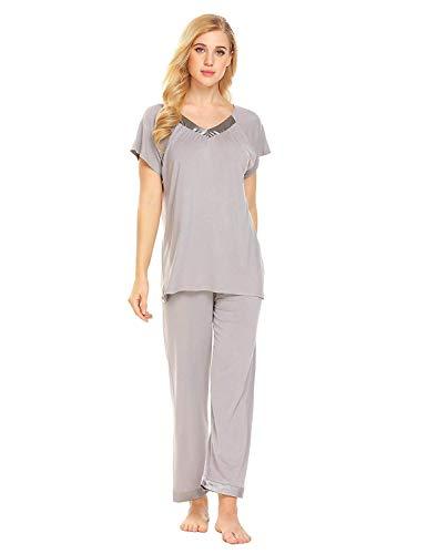 Corta Algodón Sleepwear Mujer De Informal Top 2 Cuello V Dormir Ropa Manga Home Piezas l Para En Con Conjunto Pantalones Pijama gg7rwAZzxq