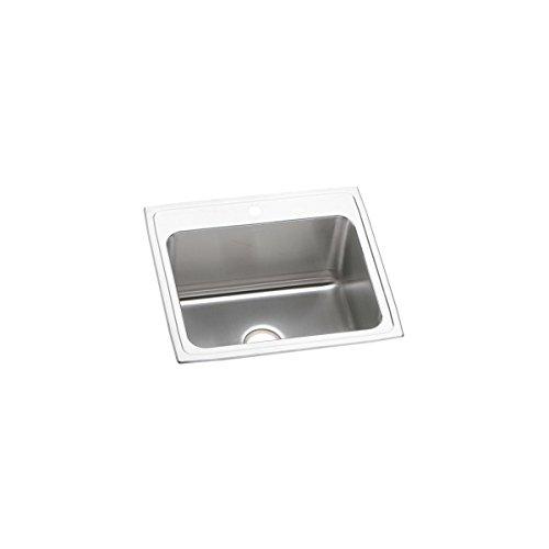 Elkay Lustertone DLR2522123 Single Bowl Top Mount Stainless Steel Kitchen Sink ()