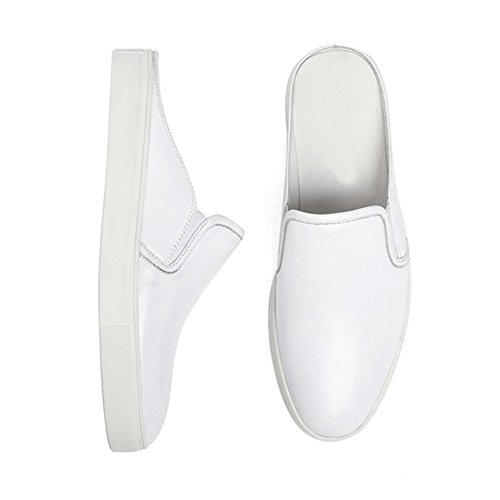 Loafers Casual Clog Slippers Breathable Sneaker Shoes Men Full Mules White on Leather Punching Santimon Slip wRFqaR