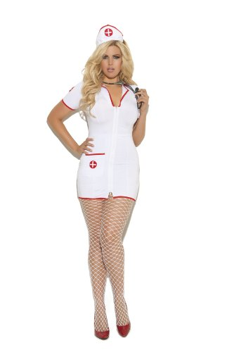 Elegant Moments Women's Plus-Size Head Nurse-Plus, White, 3X/4X (Halloween Costume Nurse)