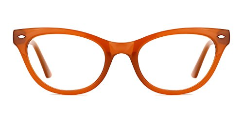 TIJN Super Inspired Mod Fashion Cat Eye Glasses Clear Color Translucent Eyewear Frame (Caramel, 51-20-145)