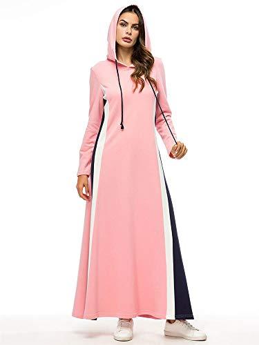 Dress Con Women High A Lunghe Rosa Di Maglia Colore Cuciture Mazf Contrasto Maniche end RAFgqn