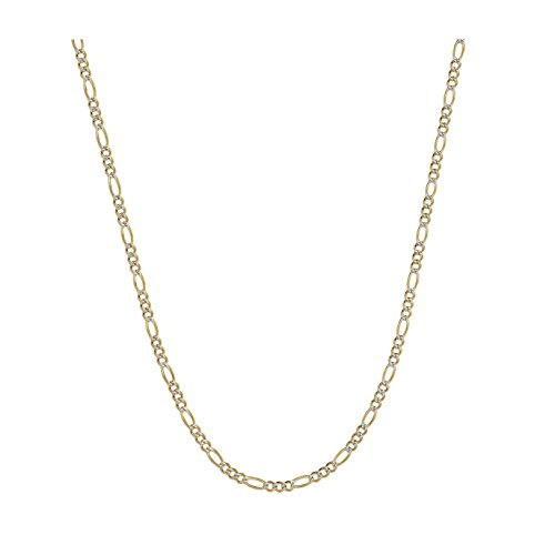 (14K Two-Tone Yellow and White Gold 1.5mm Solid Figaro Pave Chain Necklace- 20