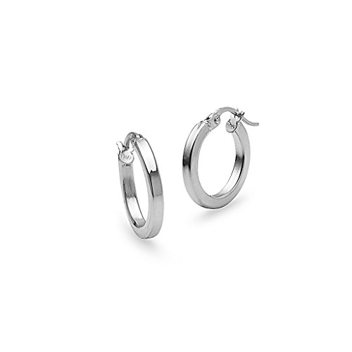 - Sterling Silver Polished 2x15mm Square Tube Hoop Earrings