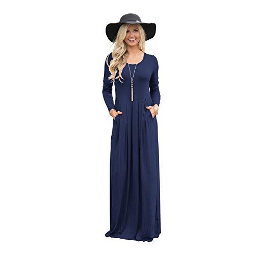 Vestimenta De De Larga Vestimenta Bolsillo Casual RONG XIU Blue Algodón Falda Casual CqxZ06XRwS